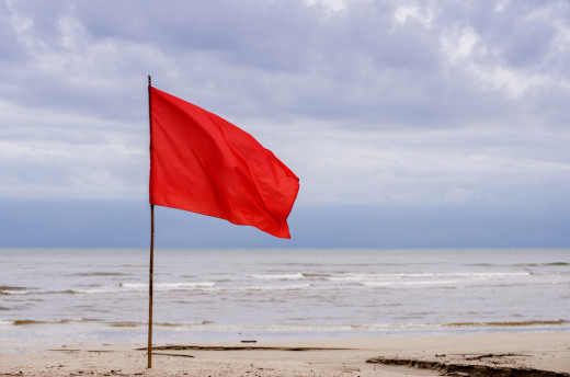red flag, caution, stop
