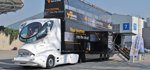 Futuristic truck of Amazon Web Services
