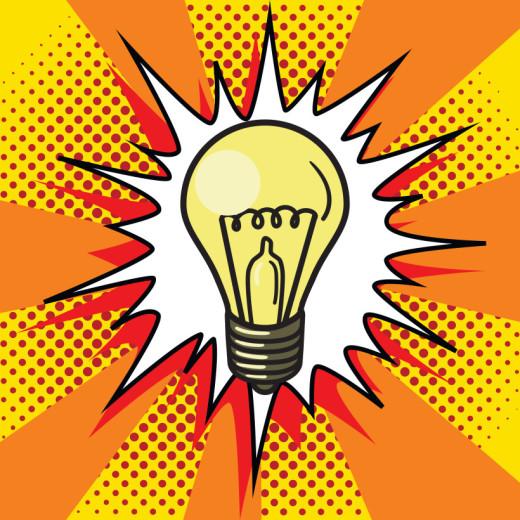 pop art, idea, lightbulb