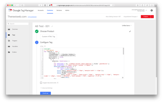 test in Google Tag Manager