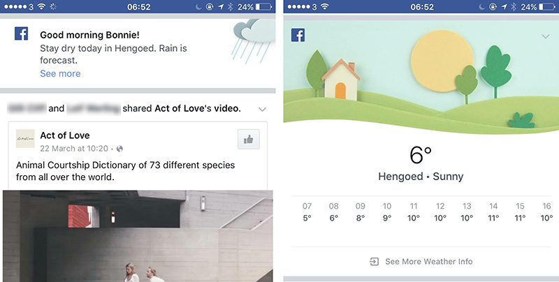 Facebook is displaying weather information in users' News Feeds