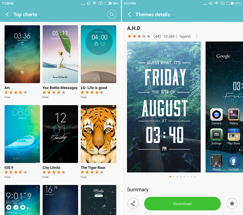 MIUI 7 has a huge theme store to change up your interface