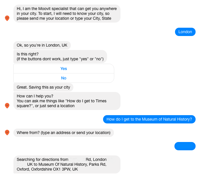 Moovit's new Facebook chatbot for transport proves v0 is not going to be good