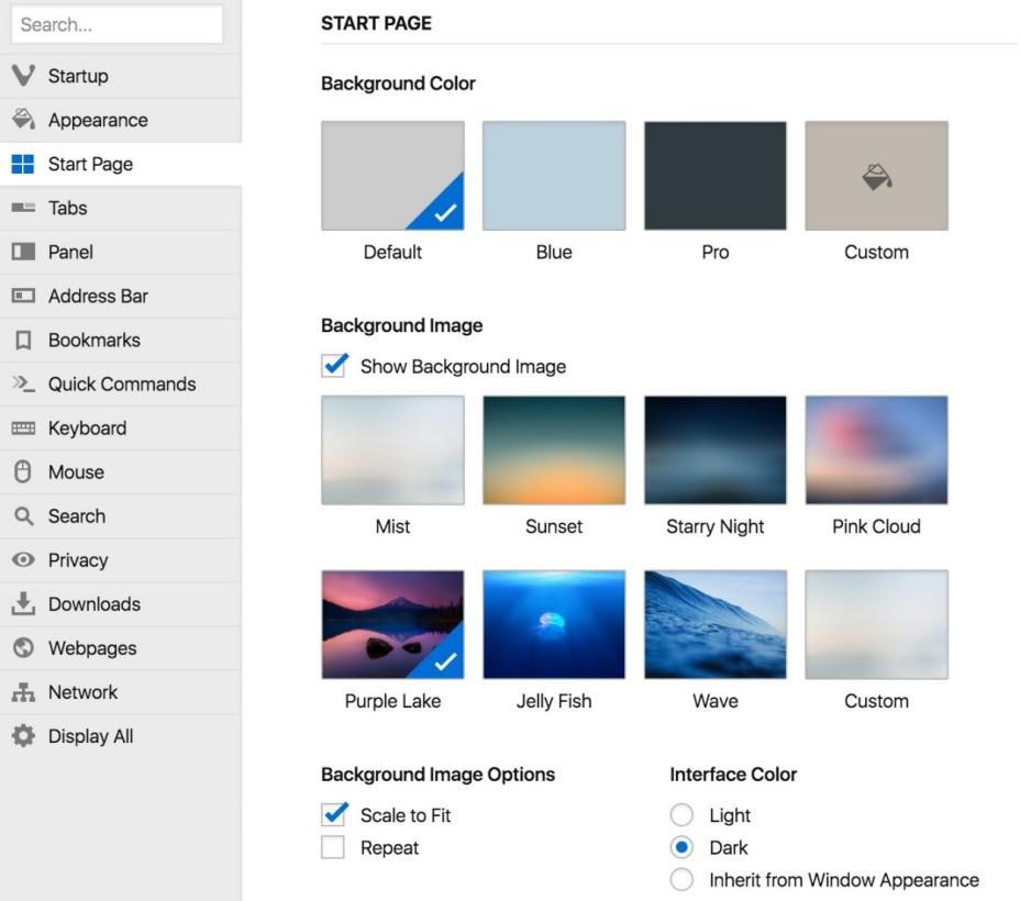 Vivaldi settings the next web