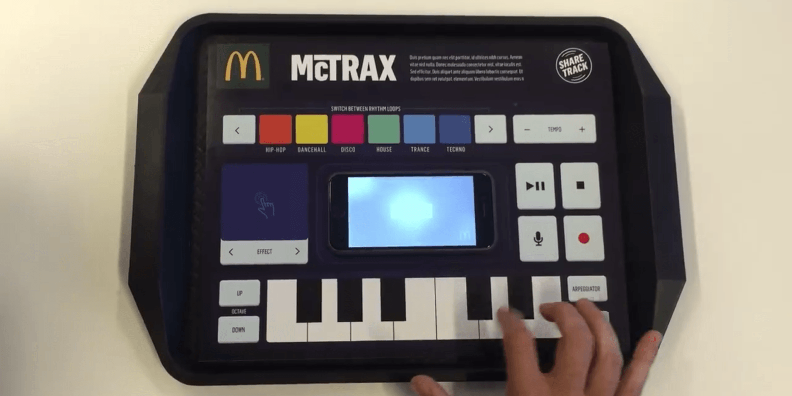 McDonald's made a music production station out of a paper tray