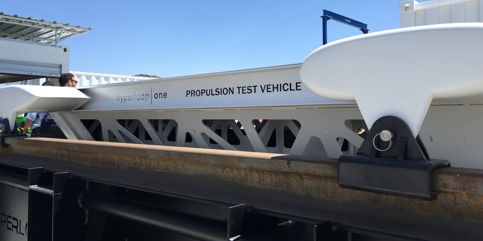 A mockup of the sled used in Hyperloop One's Propulsion test