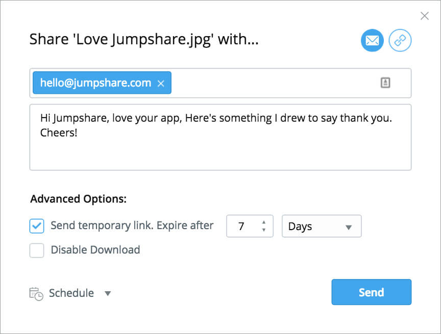 You can upload files with Jumpshare by simply dragging and dropping files onto its icon, and email links to them from within the app