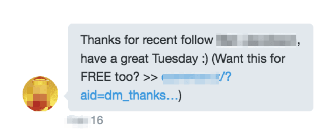 An automated Twitter DM autoresponder, triggered by the account having been followed.