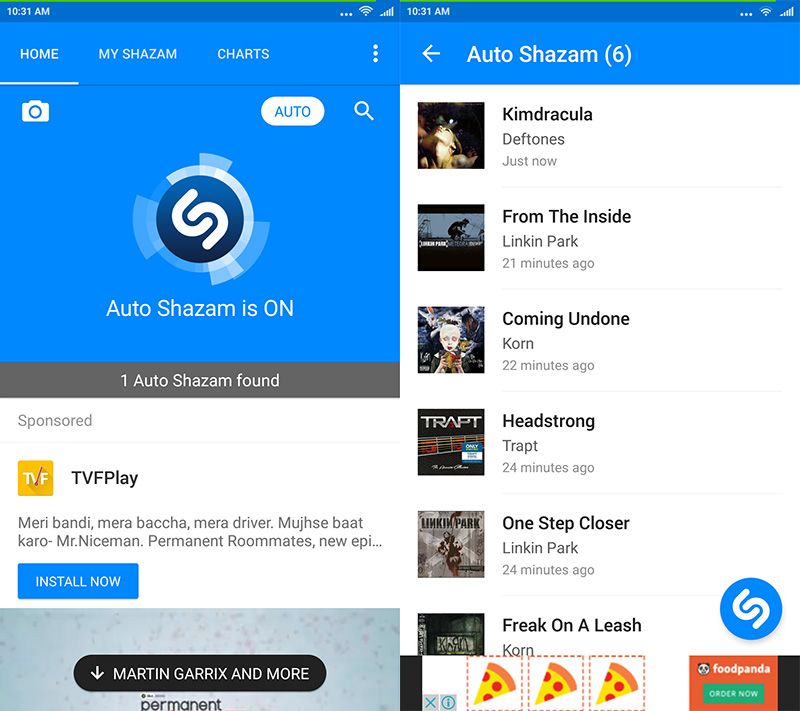 Shazam's Auto feature continuously identifies tracks and adds them to a list; I was on a nu-metal trip this morning