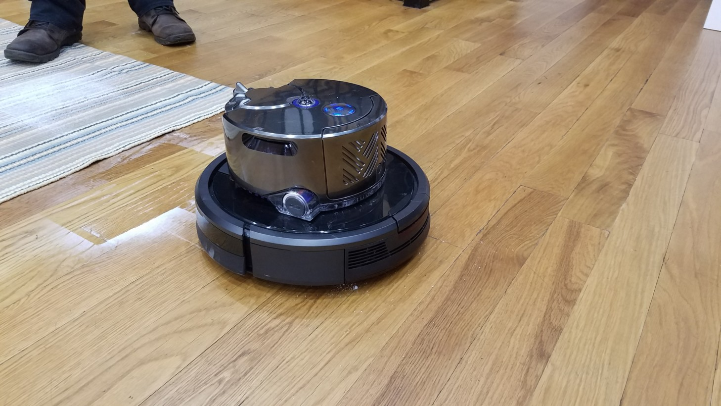 Dyson 360 Eye on top of a Roomba