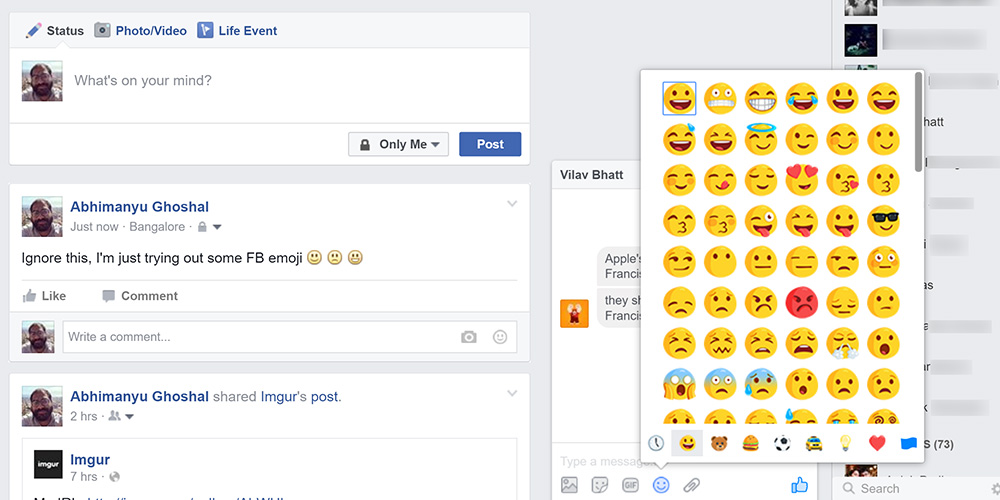 Facebook continues to use different emoji sets for Messenger and status updates/comments