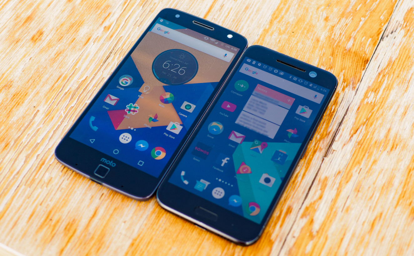 The Moto Z and the HTC 10 both have too-prominent chins, but at least the latter uses capacitive buttons.