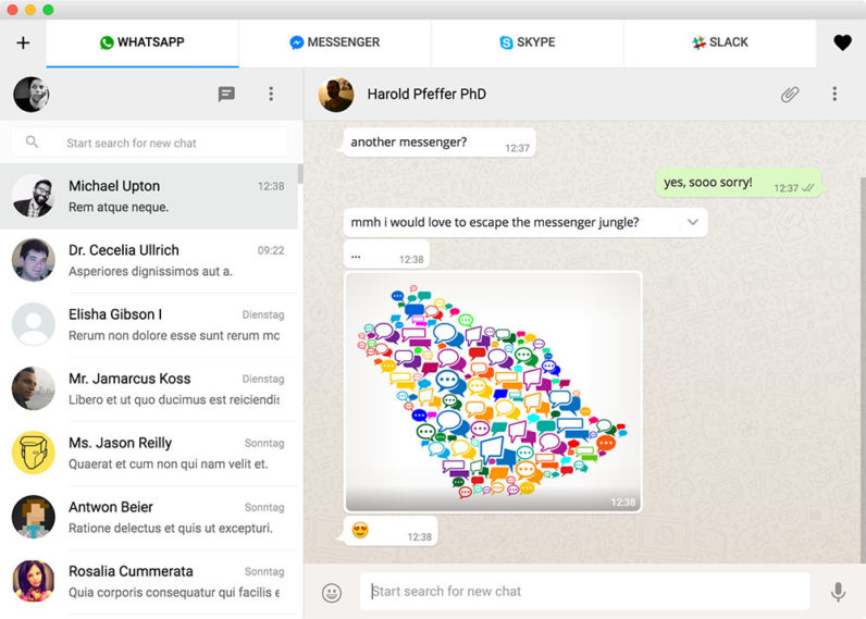 This app lets you chat in Facebook, WhatsApp and Slack simultaneously