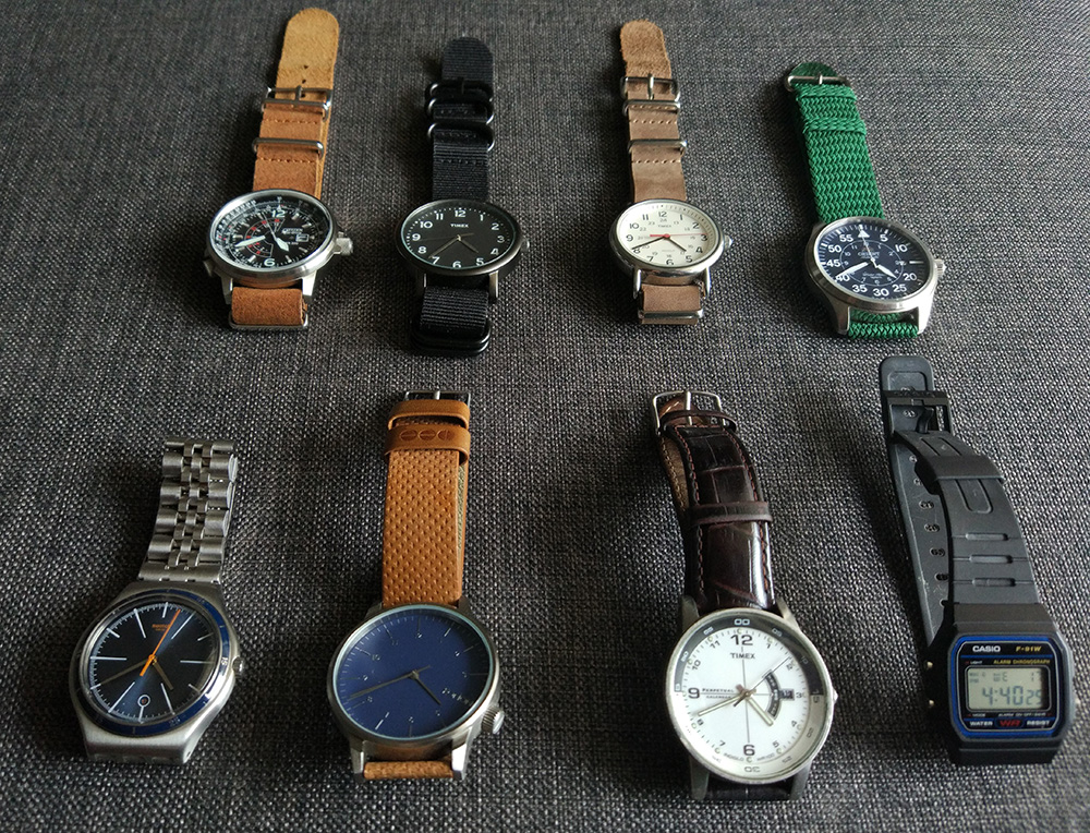 A bunch of my watches, including my prized Citizen Nighthawk, Orient Flight, Casio F-91W and Timex Weekender