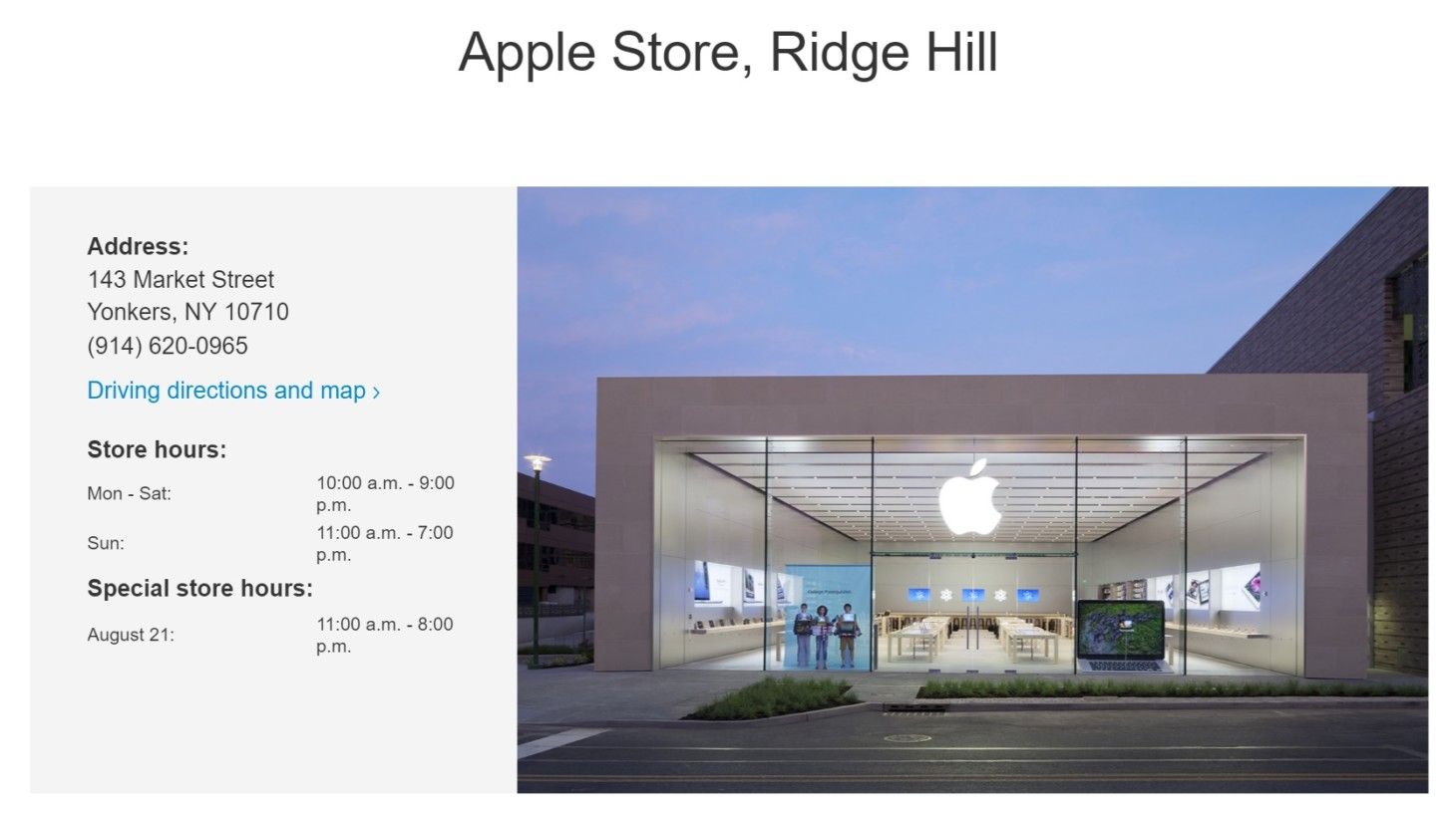 Apple Store, Ridge Hill
