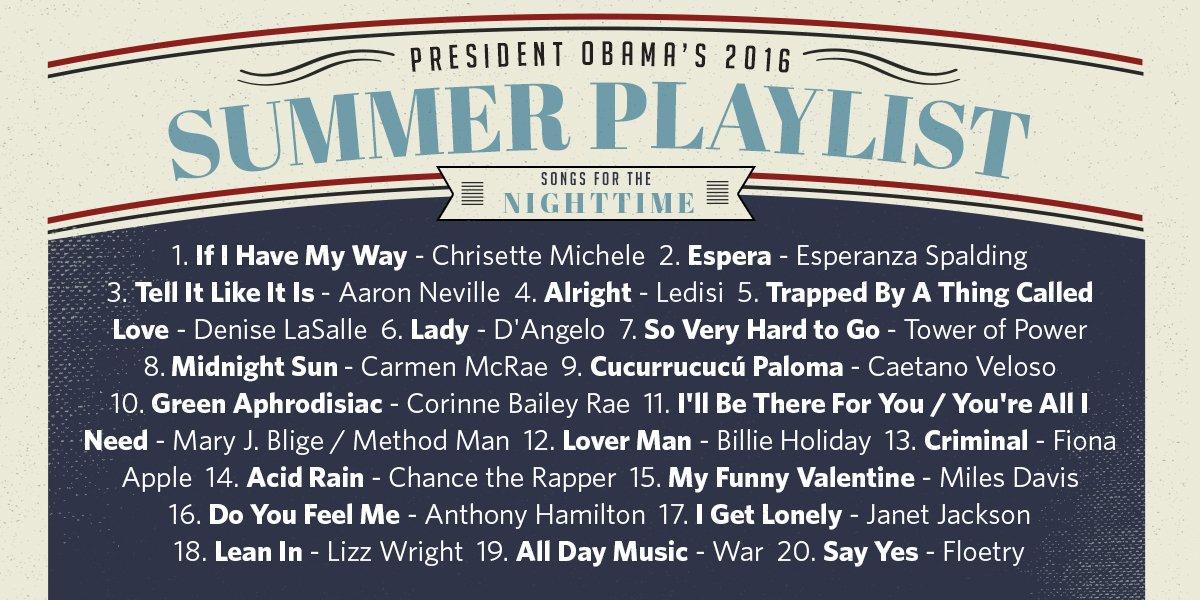 Obama Summer Playlist 2016