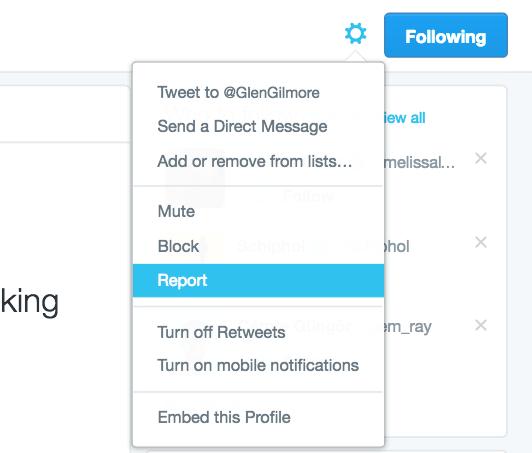 twitter report spam button