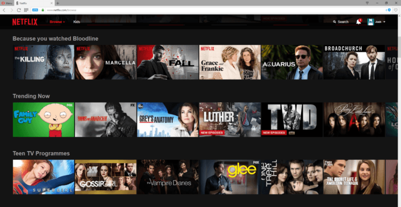 American Netflix in the UK. Take note on the blue VPN button in the taskbar.