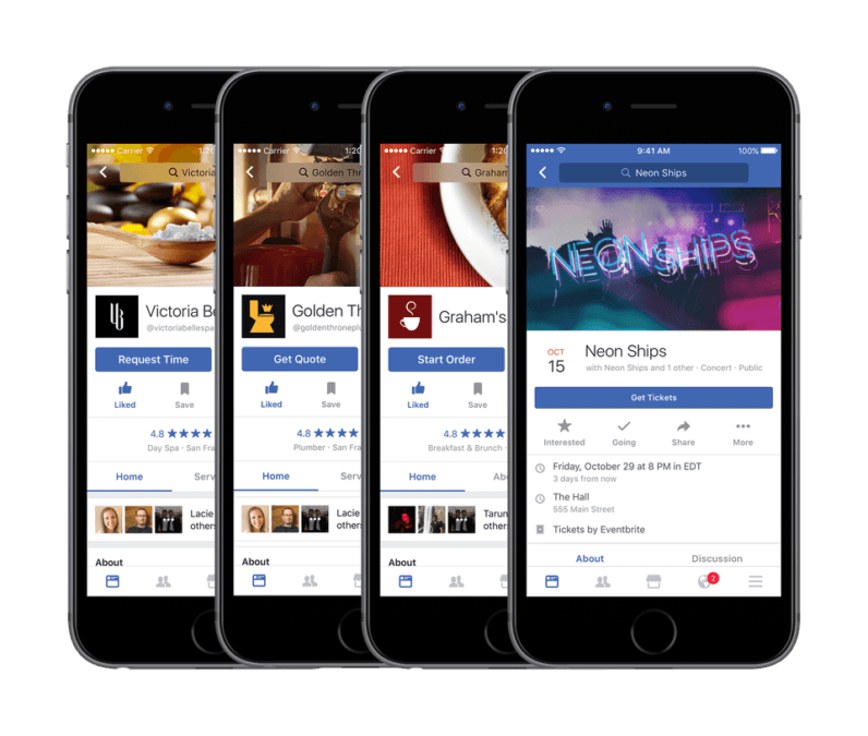 Facebook now lets you order food and buy movie tickets in-app
