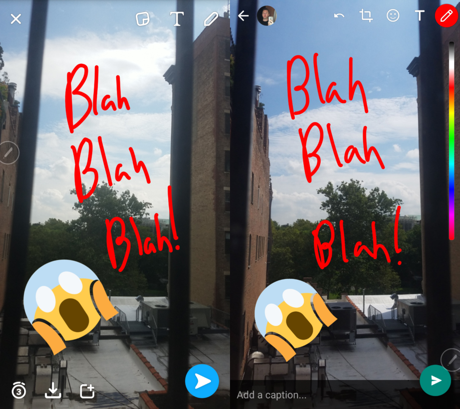 Snapchat on the left, WhatsApp on the right