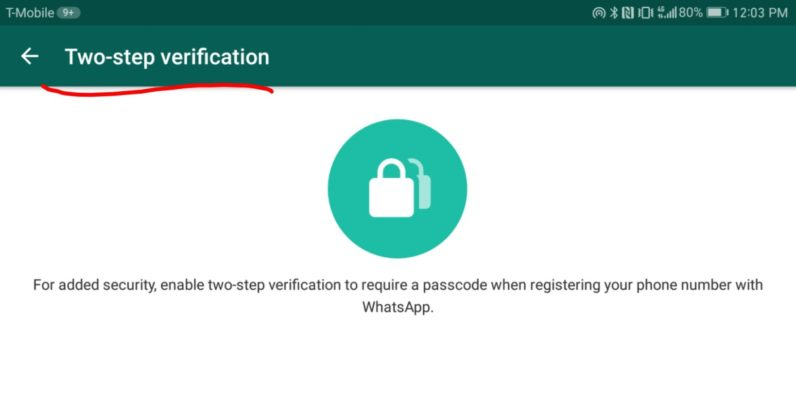 Whatsapp two-step