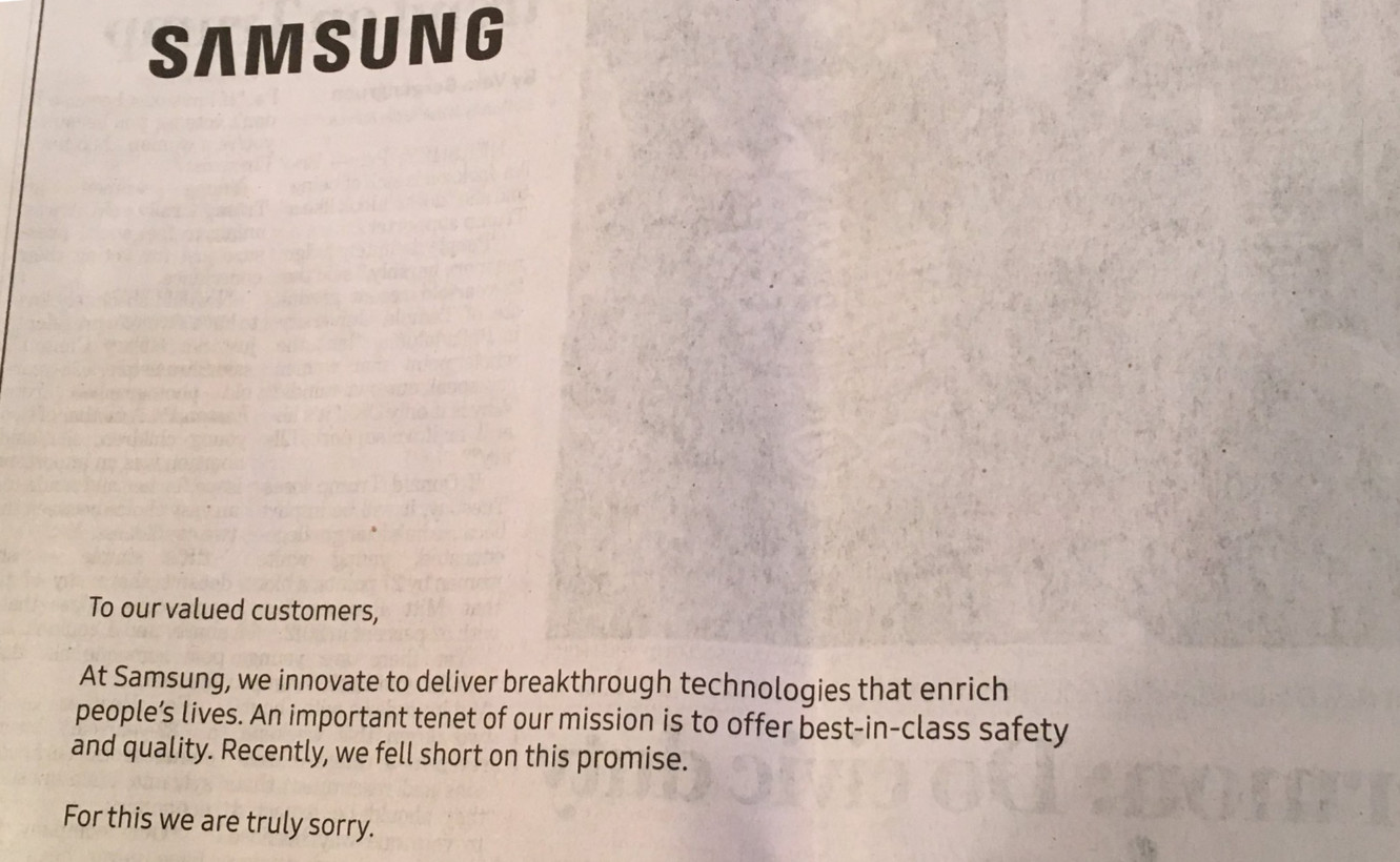 samsung faces the heat full page note apology in big newspapers