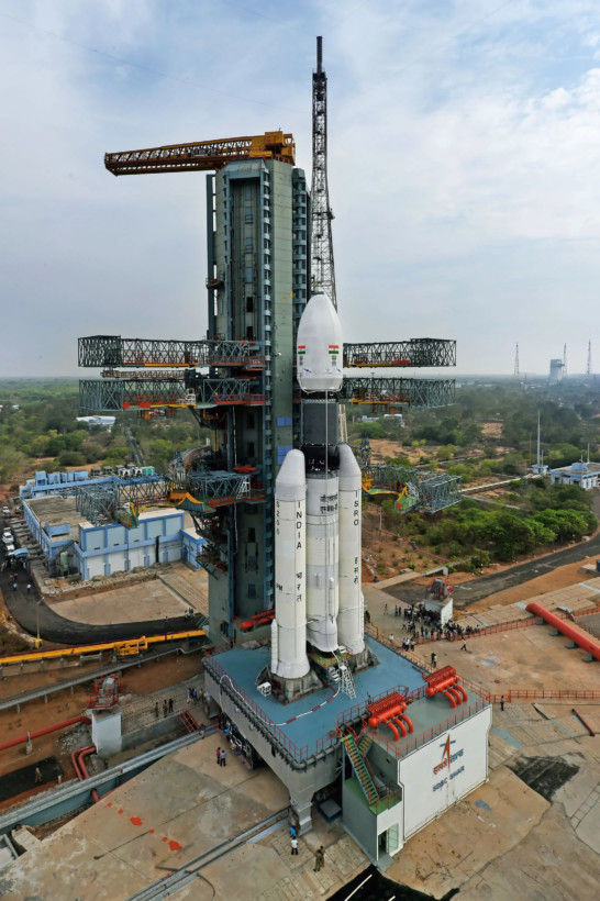 The fully integrated GSLV-Mk III D1 carrying GSAT-19 at the Second Launch Pad